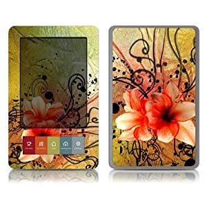 Bundle Monster Barnes & Noble Nook (Fit Nook Black & White Model Only) Ereader Vinyl Skin Cover Art Decal Sticker Protector Accessories - Flower