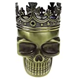 Golden Bell Ancient Crowned King Metal Skull Herb Spice Pollen Grinder--Bronze