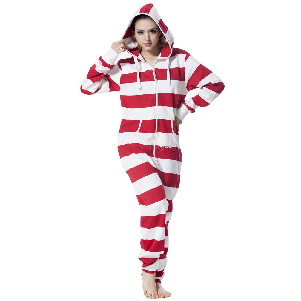Adult Women Stripe One Piece Jumpsuit Hoody Fleece Tracksuit Romper