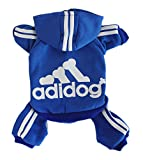 Scheppend Adidog Pet Clothes for Dog Cat Puppy Hoodies Coat Winter Sweatshirt Warm Sweater,Blue Small