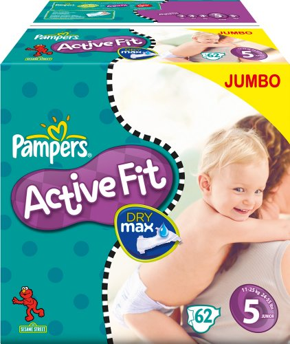 Pampers Windeln Active Fit Gr.5 Junior 11-25kg Jumbo 62 Stk.