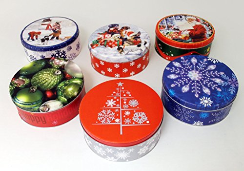 Empty Winter Holiday Cookie Tins (Set of Six)