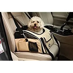 Pettom Pet Car Seat Carrier Airline Approved for Dog Cat Lookout Pets up to 20 lbs (Large, Khaki)