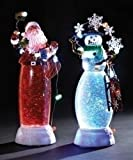 4 Battery Operated Confetti LED Lighted Santa and Snowman Christmas Figures