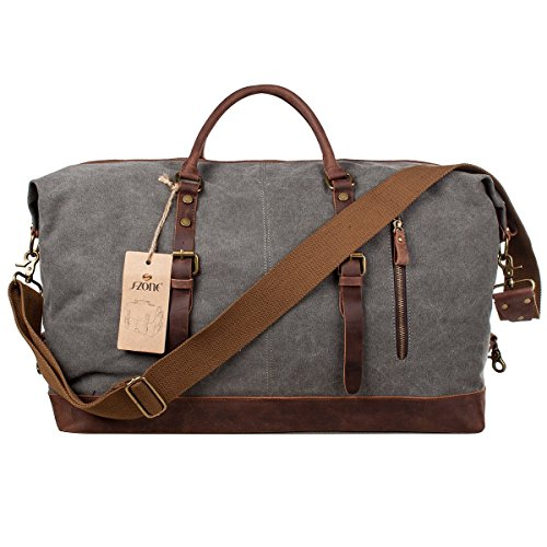 S-ZONE-Mens-Canvas-Leather-Holdall-Travel-Duffle-Overnight-Weekend-Satchel-Totes-Bag-Handbags