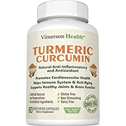Turmeric Curcumin 1300mg Anti-inflammatory, Antioxidant & Anti-Aging Supplement. Gluten Free, Non-Gmo, 100% All Natural, Vegetarian, Dairy Free. 60 Veggie Capsules with High Grade Tumeric Root Extract (Curcuma Longa) and 95% Standardized Curcuminoids for Adults (Men, Women and Seniors) - Made in the USA