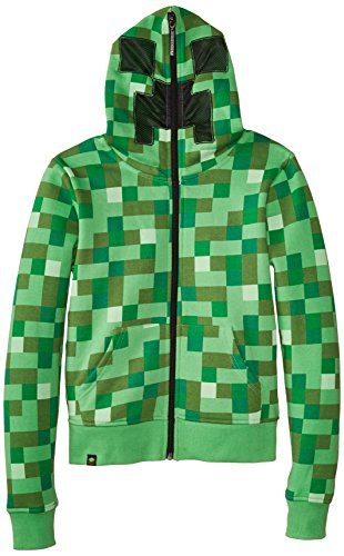 Minecraft Creeper Premium Zip-Up Youth Hoodie, Green, Medium