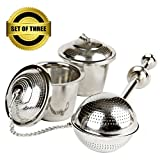 UEndure Tea Infusers, Long Handle Tea Ball Strainer and Loose Leaf Tea Infuser Baskets, Stainless Steel Mesh Steepers for Single Cup or Mug, Great for Green, Oolong, White, Rooibos & Herbal Teas