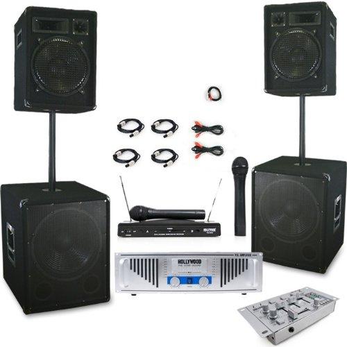 3200W PA Anlage Boxen Subwoofer Endstufe Mixer DJ-497