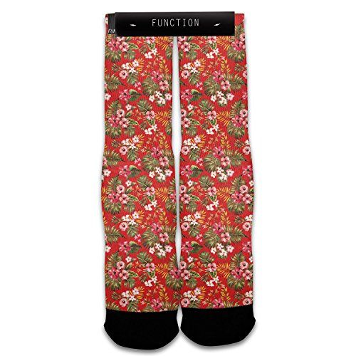 Function - Red Floral Pattern Sublimated Sock
