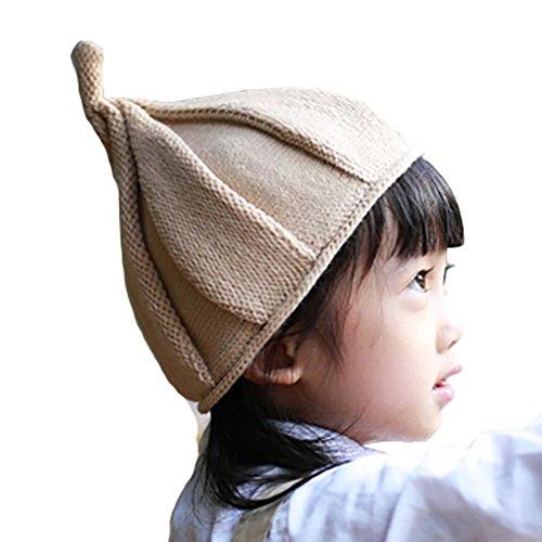LOTUS LIFE(ロータスライフ) かわいすぎる とんがり ニット帽 キッズ こども 男女兼用 子供 帽子 (カーキ)