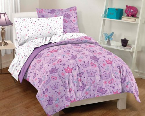 Princess Hearts And Crowns Girls Comforter Set