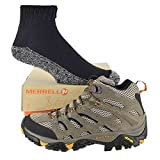 Merrell Men's Moab Ventilator Mid Shoe with Made in USA socks Bundle (9.5 D(M) US, Walnut)