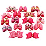 PET SHOW Mixed Styles Pet Cat Puppy Topknot Small Dog Hair Bows With Rubber Bands Grooming Accessories Rosepink Pack of 20
