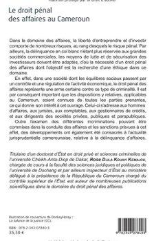 Livres Couvertures de Le droit pénal des affaires au Cameroun