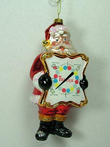 Glass Twister Board Game Santa Claus Holiday Christmas Tree Ornament B