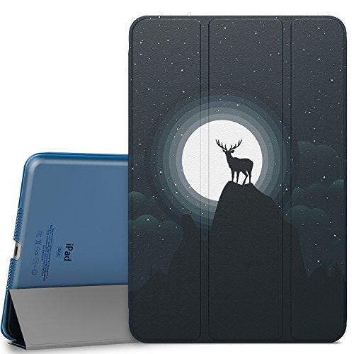 iPad Mini 4 ケース - ATiC Apple iPad Mini 4 2015 7.9 インチ iOS タブレット専用 半透明PC製 開閉式三つ折薄型スタンドケース。月光と鹿 iPad Mini 3/2/1に適応ない