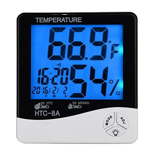 Mudder Digital Indoor Thermometer Hygrometer with Alarm Clock & Date, White/Black