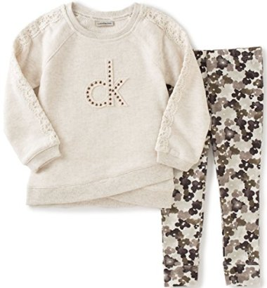 Calvin-Klein-Girls-Toddler-Sweatshirt-with-Crochet-Trim-and-Leggings-Set-Oatmeal-3T