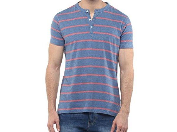American Crew Men's Henley Stripes T-Shirt