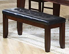 Monarch Specialties Bench with a Leather-Look Seat, 48-Inch, Dark Oak
