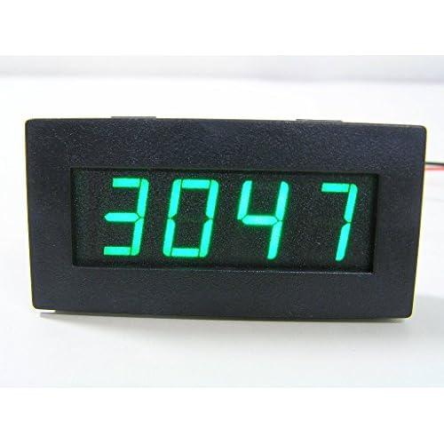 (M\'s dice)エムズダイス LED 4桁表示 デジタル タコメーター 回転計 測定 モジュール 自作 キット (黒/グリーンLED)