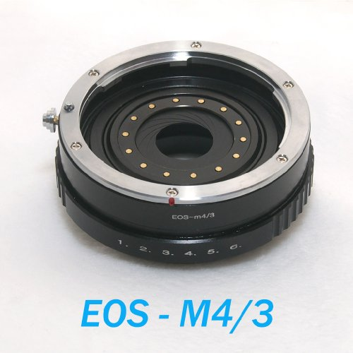 EzFoto Canon EOS EF mount lens to MFT M4/3 Micro 4/3 camera adapter, w/Build-in Aperture version, fits Olympus E-P1 E-P2 E-P