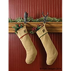 burlap pine stocking soft cotton burlap natural color brown green needles pinecones country christmas holiday - Country Christmas Stockings