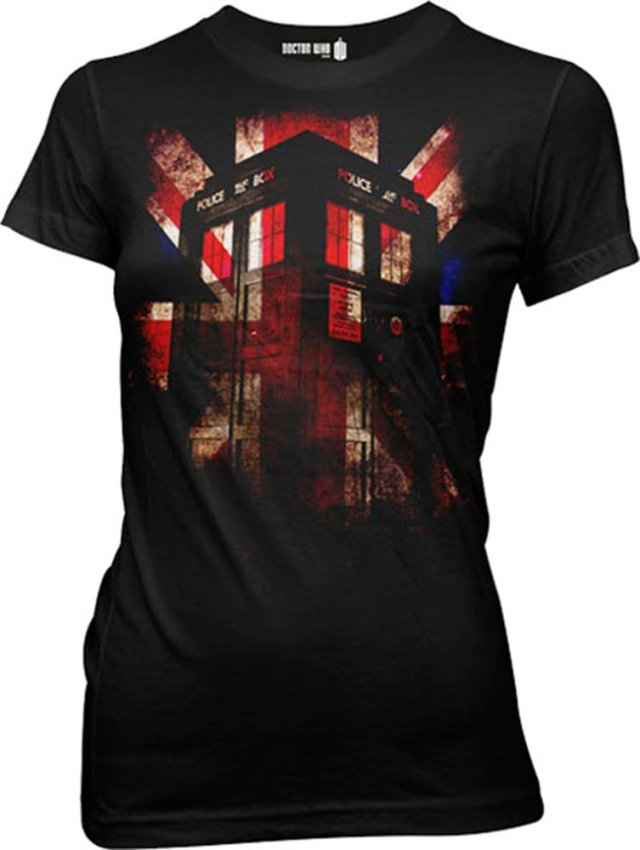Tardis Union Jack Glow Juniors T-shirt