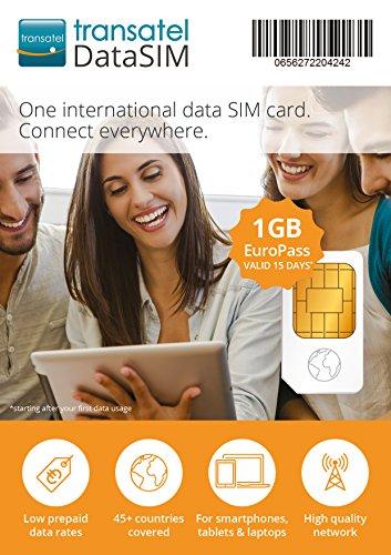Transatel・ヨーロッパ各国プリペイドデータSIMカード Euro・1GB・15日間 並行輸入品