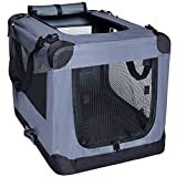 Dog Soft Crate 36 Inch Kennel for Pet Indoor Home & Outdoor Use - Soft Sided 3 Door Folding Travel Carrier with Straps - Arf Pets