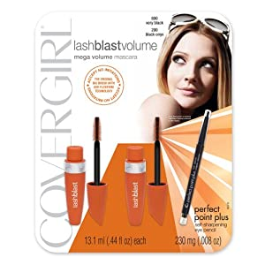 Covergirl LashBlast Volume 2 count Mascara and Perfect Point Plus Eyeliner,