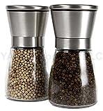 YAMO Brushed Stainless Steel Salt & Pepper Mill Set with Glass Bottle - Salt and Pepper Grinder Set with Adjustable Ceramic Grinding Mechanism