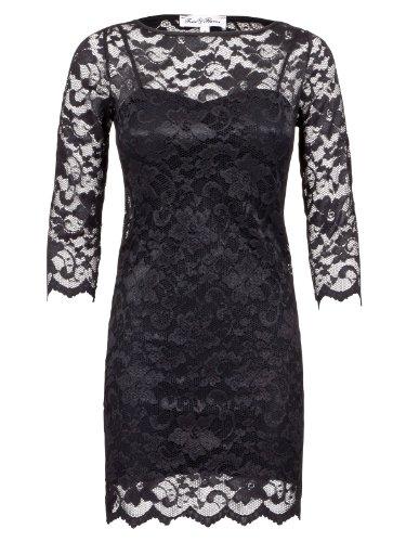 FourFlavor Abendkleid aus Spitze schwarz (L, schwarz)