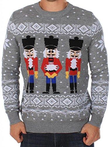 Men's Ugly Christmas Sweater - The Nut Cracker Funny Sweater Grey Size M