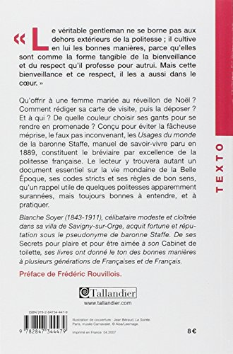 Usages Du Monde De La Baronne Staffe Epub