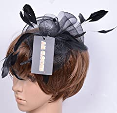 AM CLOTHES Feather and Polyester Fascinator Headband on a Clip and Brooch (BLACK)