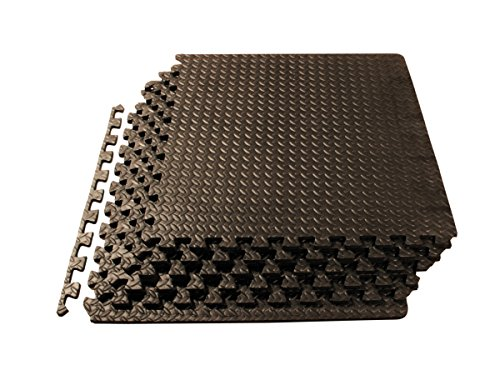 ProSource Puzzle Exercise Mat High Quality EVA Foam Interlocking Tiles - Covers 24 Square Feet - Black