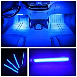言の葉 カー内部LED装飾ライト シングルカラーモード 36ランプビーズ 高輝度 車内フロア ライト イルミネーション 車内 ネオンシガーソケット(ブルー)