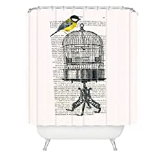 DENY Designs Coco de Paris Bird on Birdcage Shower Curtain