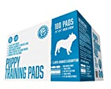 """Bulldogology Premium Puppy Training Pads - Quilted 5 Layers with Super Absorbent Polymer - No-slip Sticky Tape Under Pads - Attractant and Odor Neutralizer - Made For All Types of Dogs - 100 Bulk Count - 24"""" X 24"""" - Free Guide to Train Your Pup - 100% Satisfaction Guaranteed"""