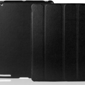 INVELLOP BLACK Leatherette Case Cover for iPad 2 / iPad 3 / iPad 4 / The new iPad Built-in magnet for sleep/wake feature