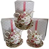 Delton Fine Collectibles Tea For One Floral Patterned Teapots Gift Bundle [3 Piece]