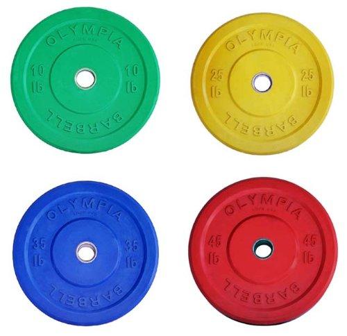 Solid Rubber Bumper Plates Color Set- 4 Pairs (total 230lb)