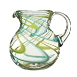 Swirled Glass Beverage Pitcher - Aqua and Lime - Handmade from Recycled Glass - 8.5