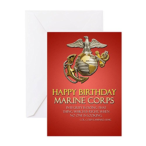 CafePress - (Single)Happy Birthday Marine Corps - Greeting Card Glossy