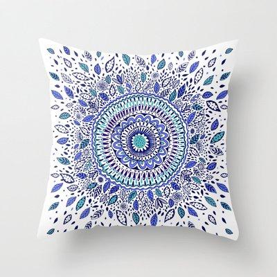 Indigo Flowered Mandala Throw Pillow by Janet Broxon