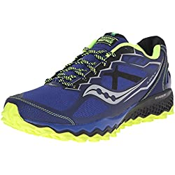 Saucony Men's Peregrine 6 Trail Running Shoe, Blue/Citron/Black, 10 M US
