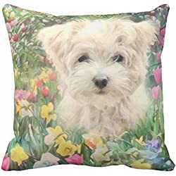 Maltese Puppy Dog in Colorful Flowers Pillow Case 18x18