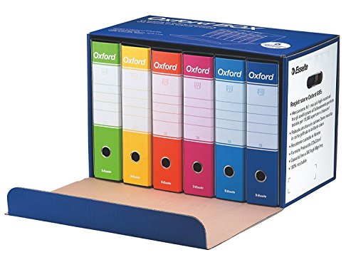 Blu Dorso 8 cm per Raccoglitore Cartone Confezione da 6pz Raccoglitore Oxford Formato Commerciale Esselte 390783050